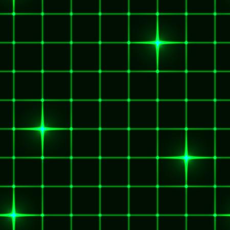 few: Seamless green grid on black background with few lighting cross