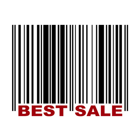 Barcode with label Best Sale in red color Vector