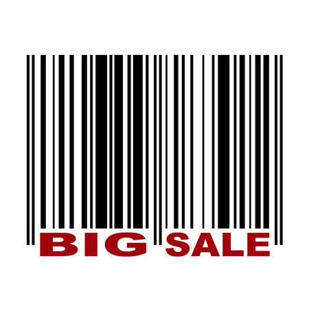 Barcode with label Big Sale in red color Vector