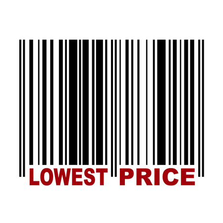 Barcode with label Lowest Price in red color Vector