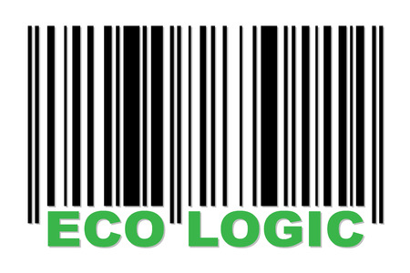 Barcode with green label ECO LOGIC Vector