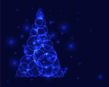 Shining blue christmass tree made from circles or bubbles Vector
