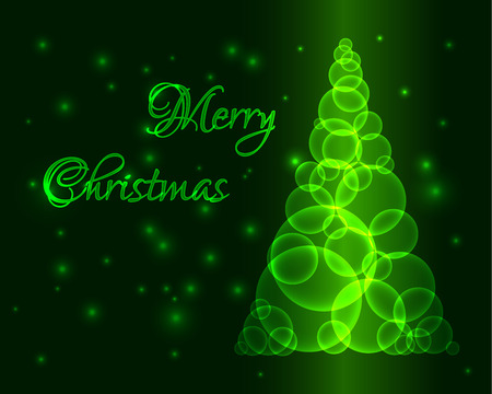 Shining green christmas tree made from circles or bubbles Vector