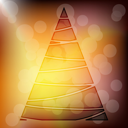 Transparent Gold Xmas Tree with Bokeh Effect on Background Vector