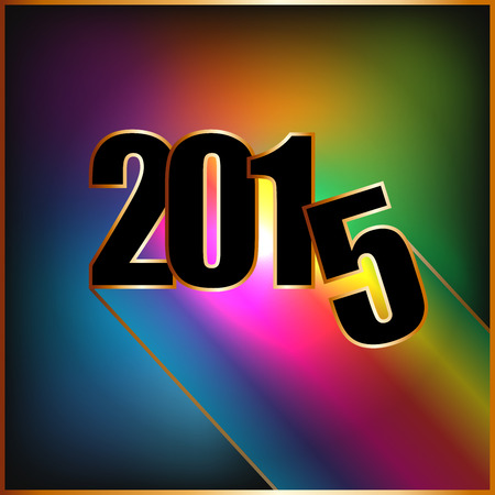 Happy New year 2015 with rainbow and golden borders Vector