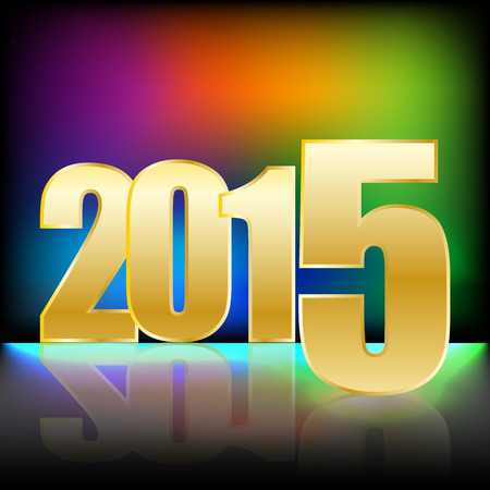 flor: Happy New Year 2015 with gold numbers and bright rainbow blured colors background and reflect on the flor Illustration