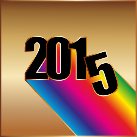 Happy New year 2015 with rainbow on gold background Vector