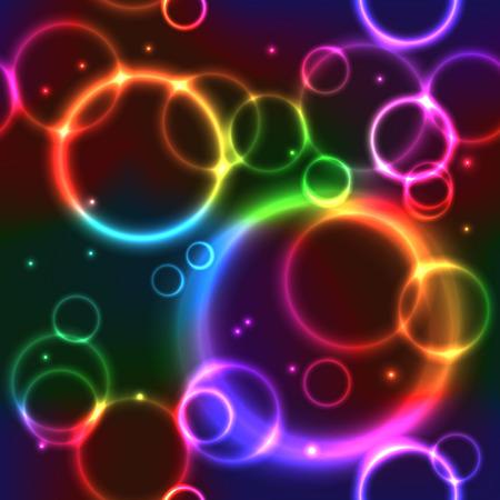 Barevné bezešvé pozadí s rainbow neon kruhy Ilustrace