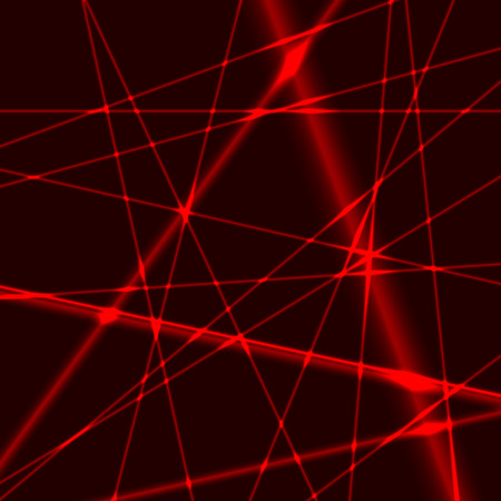 red laser random beams on dark background