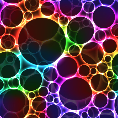 Black bubbles on colorful background with light reflection