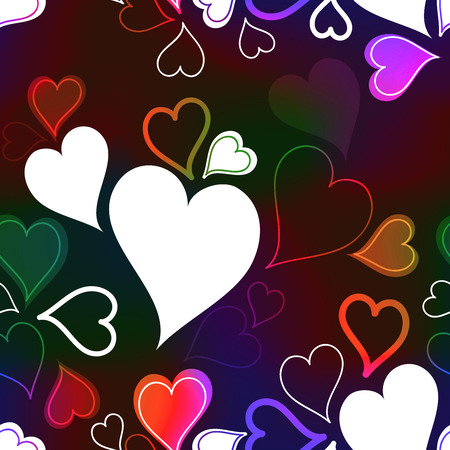 romatic: Colorful neon rainbow hearts (seamless background)