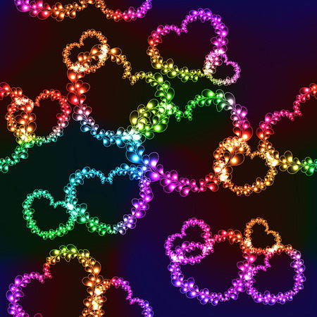 Black background with bright color neon hearts (seamless background) Vector