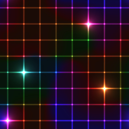 Neon stars on grid seamless background Illustration