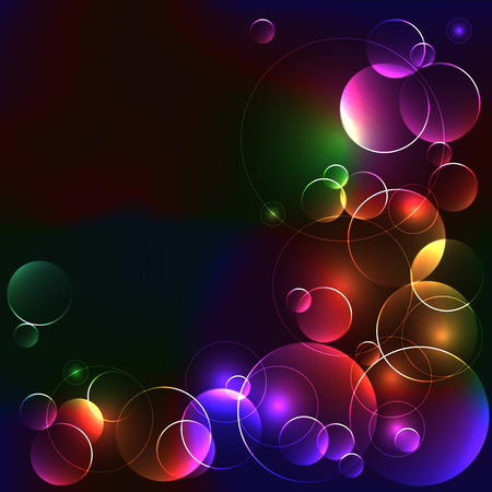 Template with bright color circles on black background Illustration