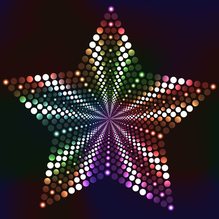 Dotted glossy star with bright colors on dark background Vector