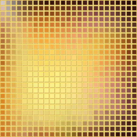 Sqaure brown and yellow Mosaic with gold grid background