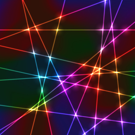 Neon laser grid with random beams for disco show or party Vector
