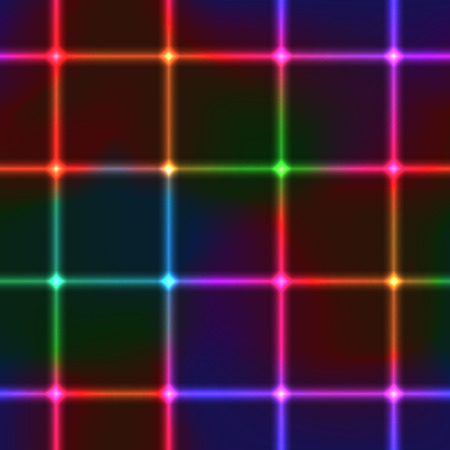 Neon laser shine square grid seamless background Vector