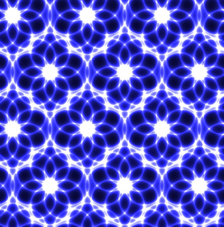 myst: floral neon laser white and blue seamless background