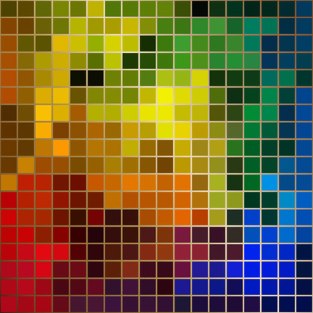 brigt: Bright colors square mosaic with gold borders Illustration