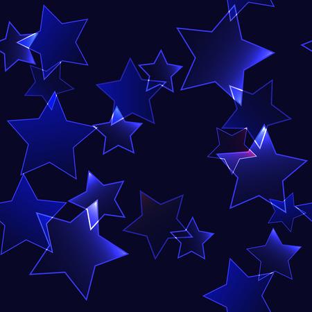 Dark background with dark blue neon stars - seamless background Vector