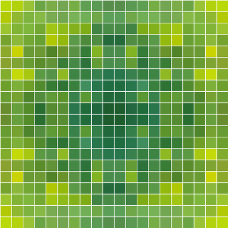 Green square mosaic seamless background with white borders or space between tiles Vector