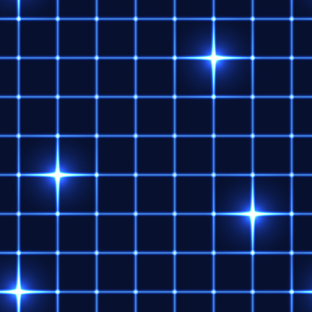 disco backdrop: Blue net or grid with shinning stars (seamless background)