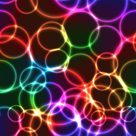 Shining neon rainbow color bright bubbles on black background (seamless background)