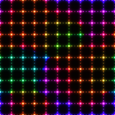 polka dot: Neon colorful LED wall from dots on dark background - seamless background