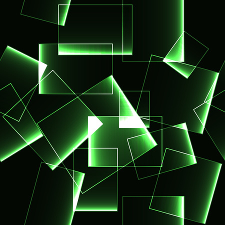 shinning: Green transparent shinning ice or glass blocks on dark background (pattern)