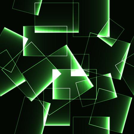Green transparent shinning ice or glass blocks on dark background (pattern)