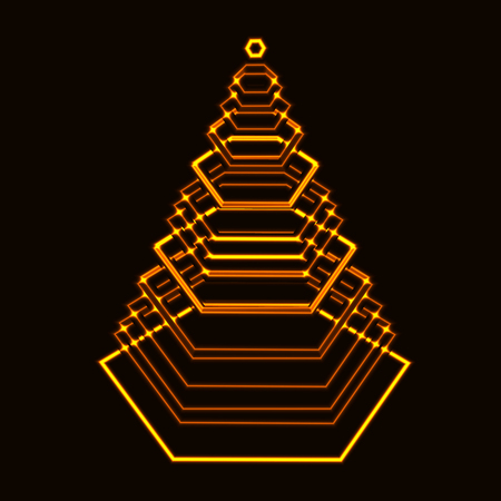 nomad: laser gold shining tech xmas tree made from hexagon with layers on black background Illustration