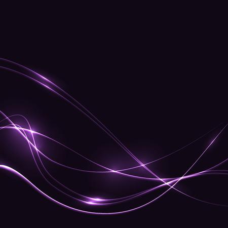 Lilla schijnt golven in het donker (sjabloon of achtergrond) Stock Illustratie