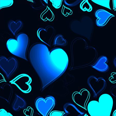 corazones azules: corazones brillantes azules sobre fondo oscuro - modelo inconsútil