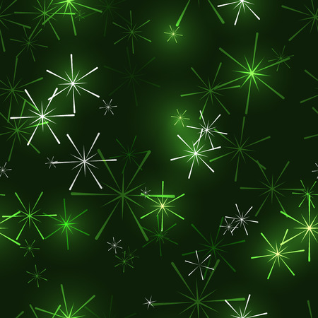 green dark seamless background with shining stars or snowflakes