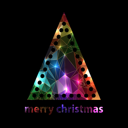 original sparkle: Sparkle polygon silhouette colorful christmas tree on black background