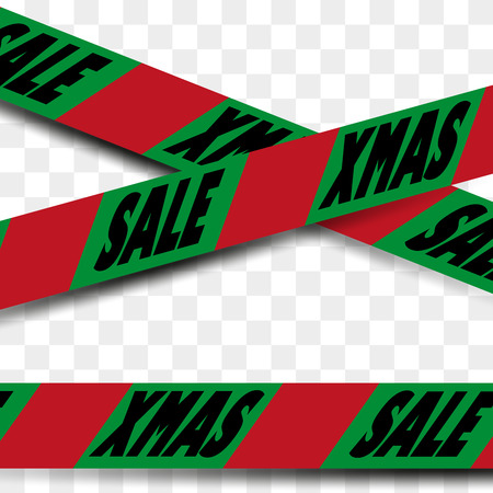 insertion: Attention danger SALE tape in christmas colours