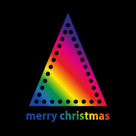 arco iris: árbol de navidad simple hecho de triángulo con agujeros como bolas de Navidad y la decoración en gradiente de arco iris