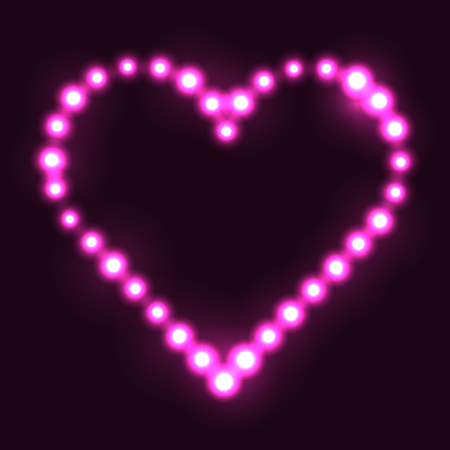 Original heart made from pink dots / pearls/ bulbs / circles on dark background