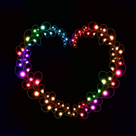 ball chains: neon heart made from lot of shining point on leafs on black background Illustration