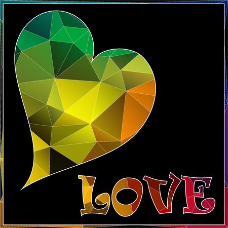 coeur diamant: polygone - Coeur de diamant sur bakground noir avec étiquette AMOUR Illustration