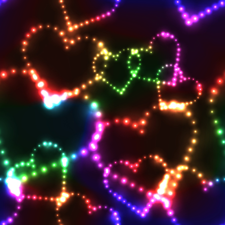 shinning: Neon shinning rainbow colorful hearts on dark background - seamless background