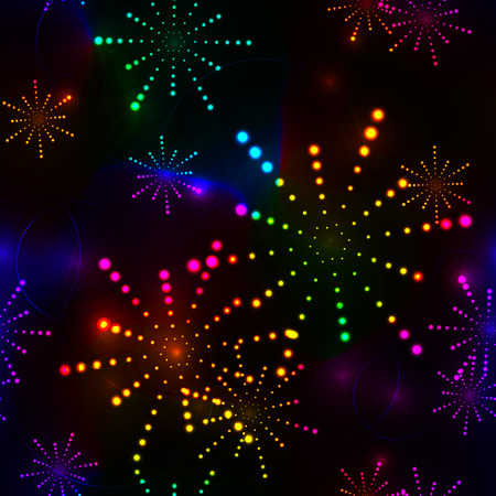 seamless background with colorful firework stars on dark black sky Illustration