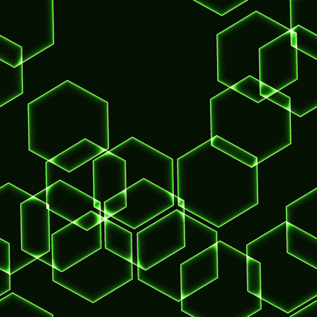 krypton: Very dark seamless background with green hexagons outlines Illustration