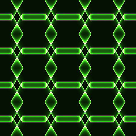 krypton: Green dark seamless background with shining laser ornaments - magic crystals  gems  diamonds Illustration