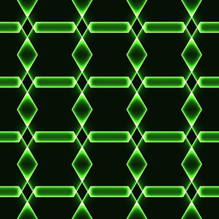 Green dark seamless background with shining laser ornaments - magic crystals  gems  diamonds Illustration