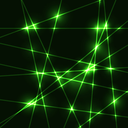 krypton: Random green laser beams on dark background - template Illustration