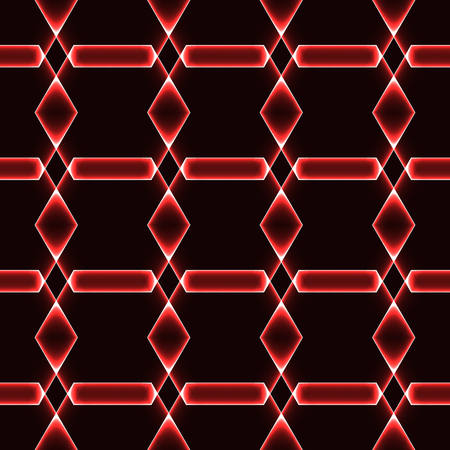 Red dark seamless background with shining laser ornaments - magic crystals  gems  diamonds