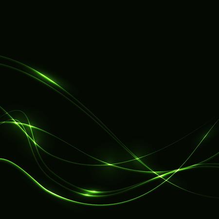 Dark background with green laser shine glow neon waves