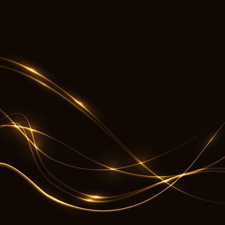 shine: Dark background with gold laser shine glow neon waves Illustration